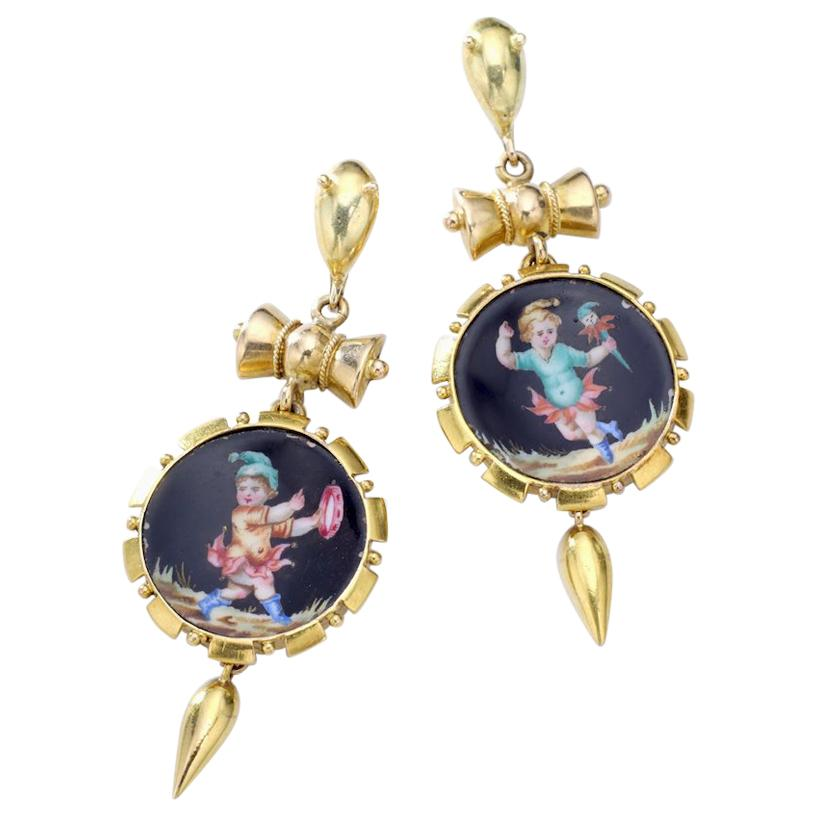 Antique Yellow Gold and Ceramic Earrings