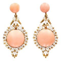 Antique Yellow Gold and Pink Coral Cannetille Pendant Earrings