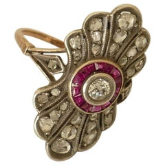 Antique Yellow Gold and Sterling Silver Ruby and Diamond Dress Ring