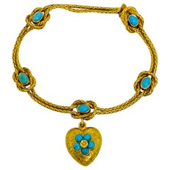 Antique Yellow Gold and Turquoise Bracelet w/ Heart Charm