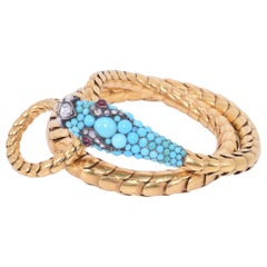 Convertible Antique Yellow Gold and Turquoise Snake Necklace, circa 1870s