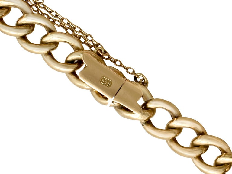 Antique 1900s Yellow Gold Curb Link Bracelet In Excellent Condition In Jesmond, Newcastle Upon Tyne