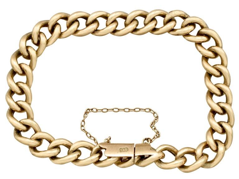 Women's or Men's Antique 1900s Yellow Gold Curb Link Bracelet
