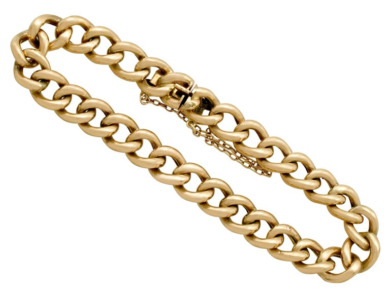 Antique 1900s Yellow Gold Curb Link Bracelet 1