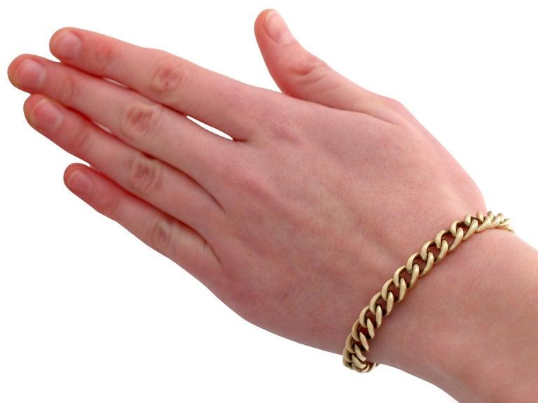 Antique 1900s Yellow Gold Curb Link Bracelet 3