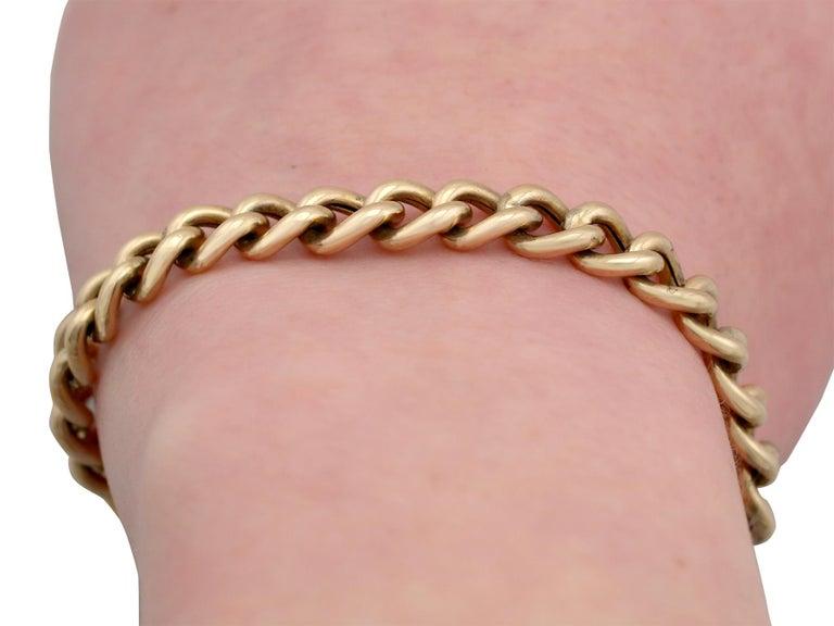 Antique 1900s Yellow Gold Curb Link Bracelet 5
