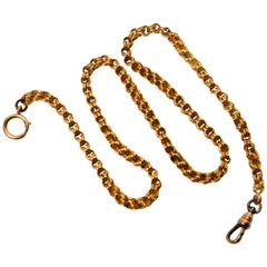 Antique Yellow Gold Double Cable Watch Chain