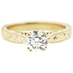 Antique Yellow Gold Engraved Diamond Engagement Ring 'GIA'