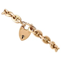 Antique Yellow Gold Mariner Link Bracelet with Heart Padlock Clasp