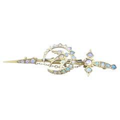 Antique Yellow Gold Opal Sword Brooch