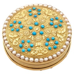Antique Yellow Gold Pearl and Turquoise Pill Box, Circa 1815