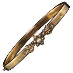 Antique Yellow Gold Pearl Bead Flower Cuff Bracelet