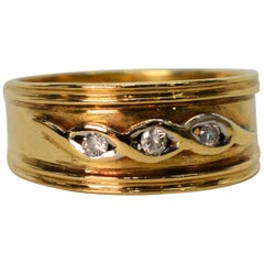 Antique Yellow Gold Ring Band with Diamond Accents