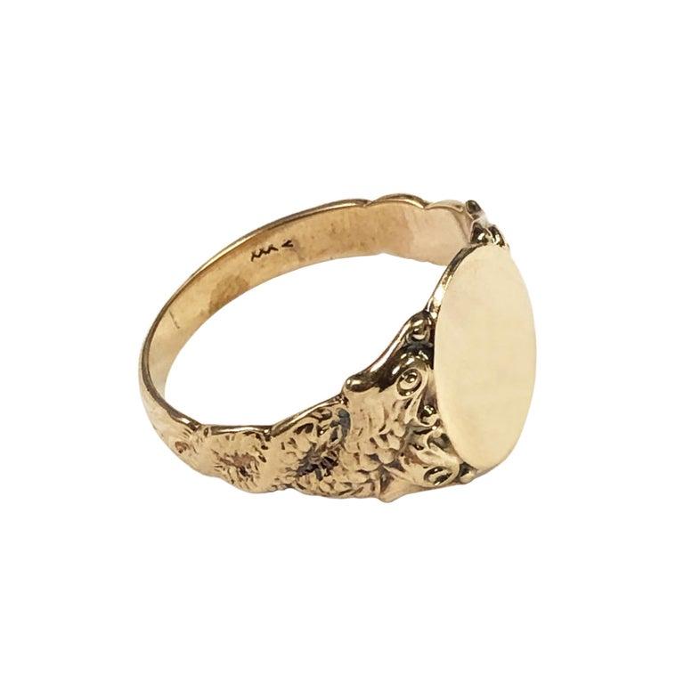Art Nouveau Antique Yellow Gold Serpent Signet Ring For Sale