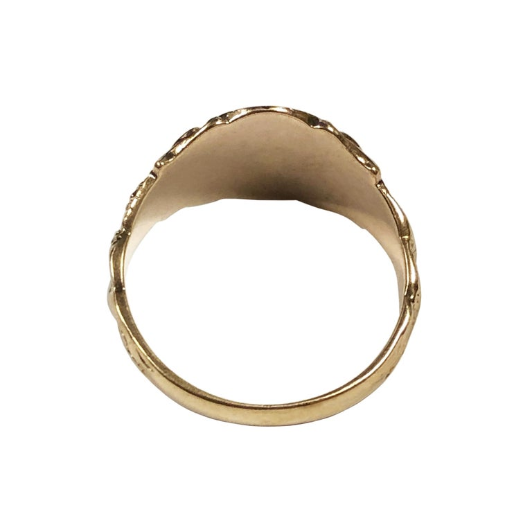 Women's or Men's Antique Yellow Gold Serpent Signet Ring For Sale
