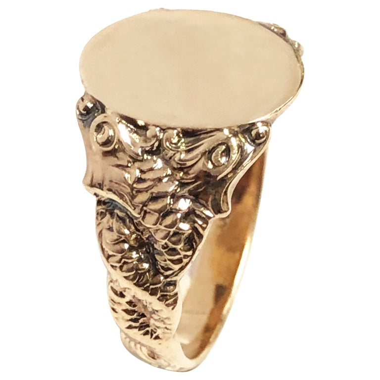 Antique Yellow Gold Serpent Signet Ring For Sale