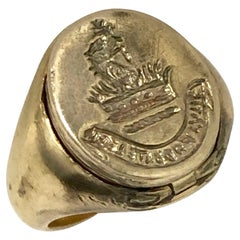 Antique Yellow Gold Signet Poison Ring