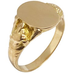 Antique Yellow Gold Signet Ring with Lion Sides