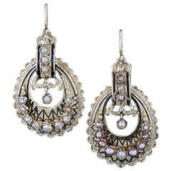 Antique Yellow Gold Victorian Era Earrings with Pearl Accents