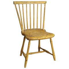 Antique Yellow Mustard Painted and Stenciled Decorated Windsor Chair, circa 1820