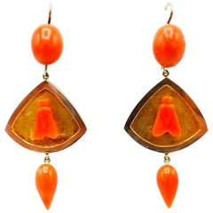 Antique Yellow Rose Gold Carved Coral Fly Earrings