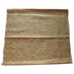 Antique Yellow Silk Damask Textile Fragment