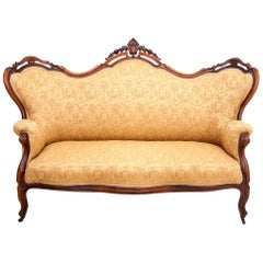 Antique Yellow Sofa, Louis Phillipe, circa 1930