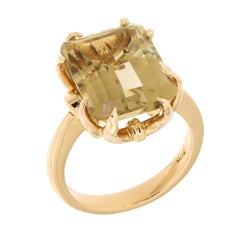 Antique Yellow Topaz 18 Karat Rose Gold Ring Handcrafted in Italy