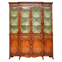 Antique Yew Wood Regency Style Breakfront Bookcase
