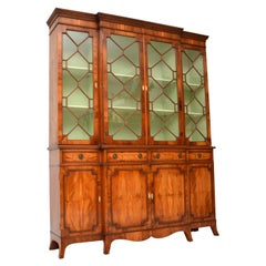 Antique Yew Wood Sheraton Style Breakfront Bookcase