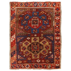Antique Yuruk Traditional Burgundy Red and Blue Wool Rug