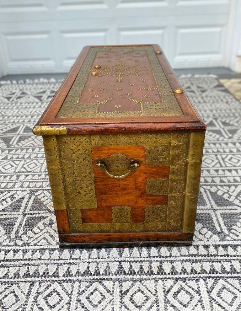Antique Zanzibar Blanket Chest Teak Wood with Brass Metal Overlay, 19th Century For Sale 6