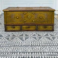 Antique Zanzibar Blanket Chest Teak Wood with Brass Metal Overlay, 19th Century