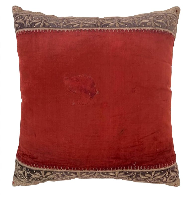 Anglo-Indian Antique Zardozi Pillow For Sale