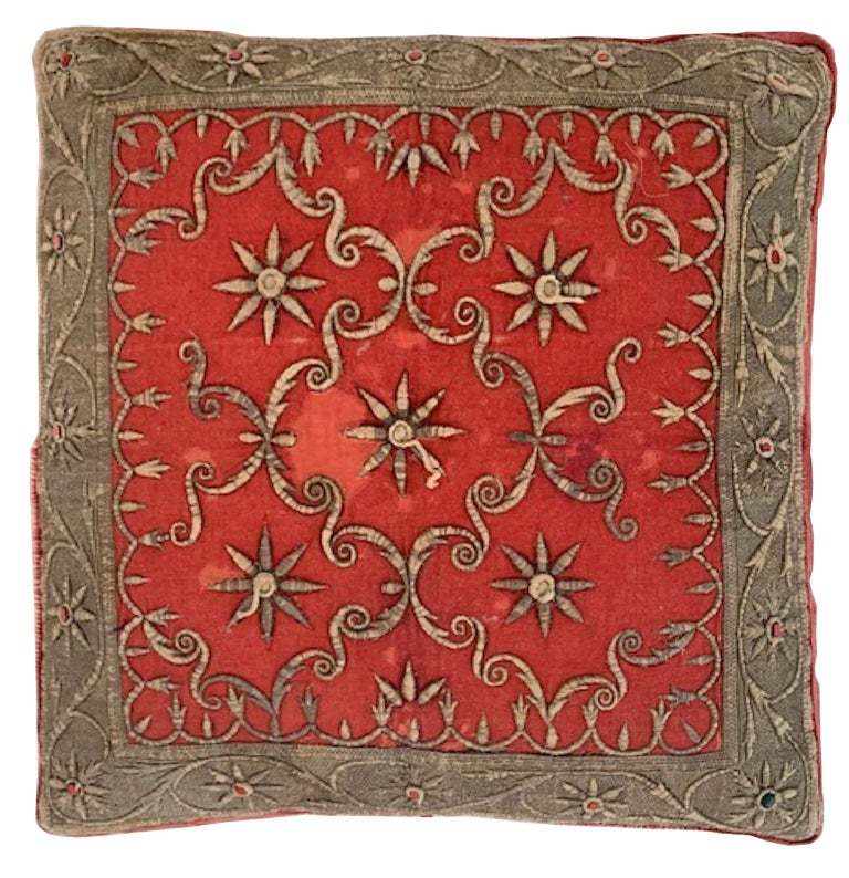 Antique Zardozi Pillow In Good Condition For Sale In New York, NY