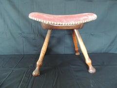 Antique Zebra Wood Saddle Shape Stool With Pink Velvet Upholstery