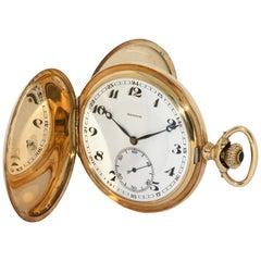 Antique Zenith 14 Karat Gold Pocket Watch, Savonette, Enamel Dial