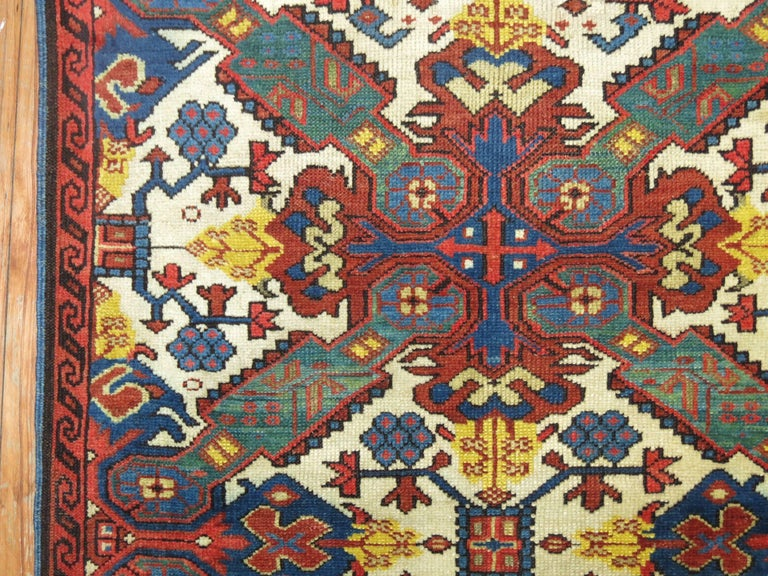 A late 19th century Caucasian Zeychour Kuba rug.  A subtype of the Kuba rug, antique Seychour (also known as Seichur and Zeychour) rugs are made in the small town of Yukhari-Zeykhur in Azerbaijan in the Northeast Caucasus. Prized for the detailed