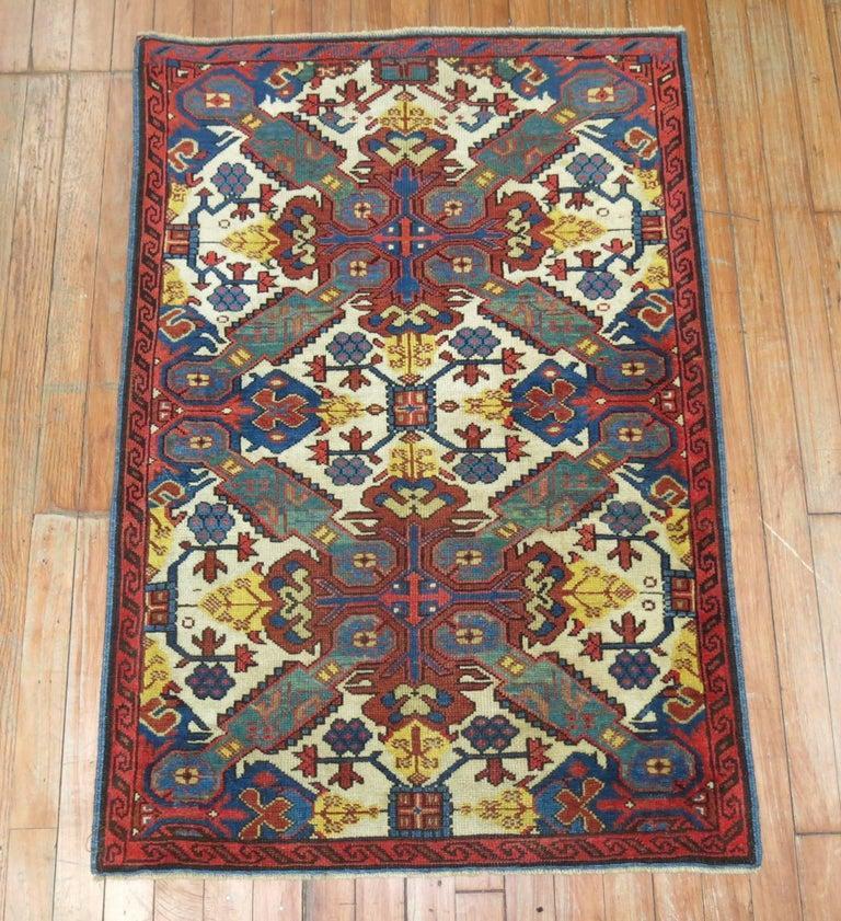 Kazak Antique Zeychour Caucasian Kuba Rug For Sale