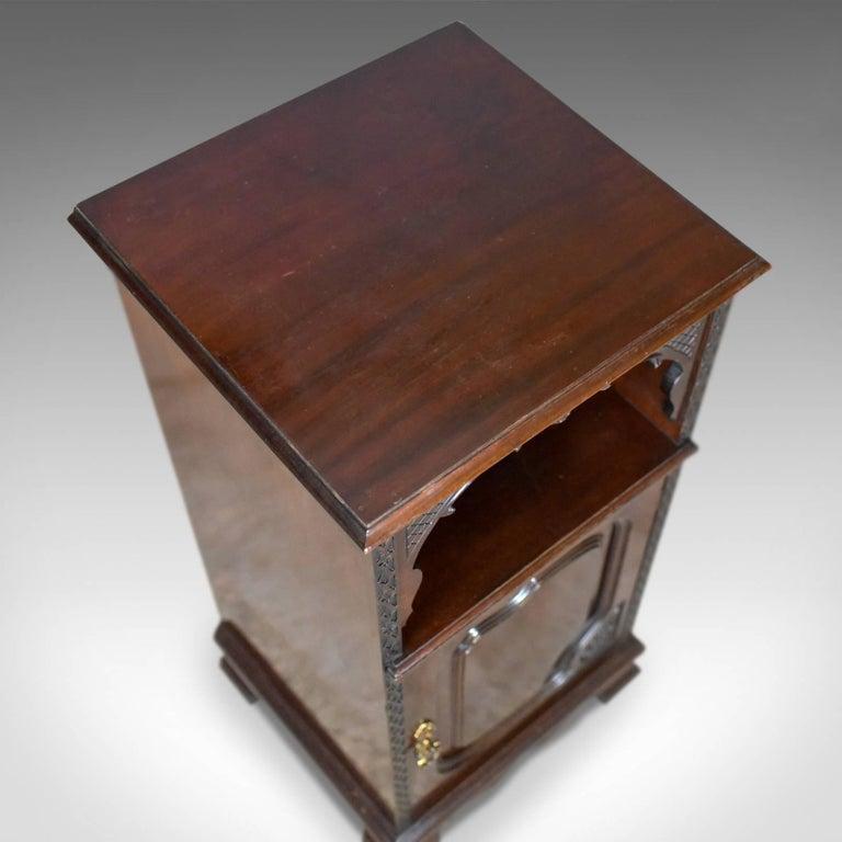 Antique, Bedside, Cabinet, Carved Mahogany, Nightstand, English, circa 1910  In - Antique, Bedside, Cabinet, Carved Mahogany, Nightstand, English