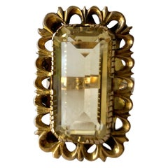 Antiqued 14 Karat Gold Faceted Citrine Cocktail Ring