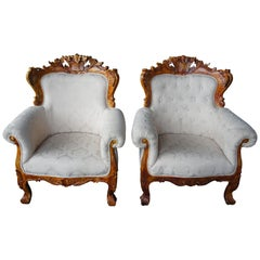 Antiqued Baroque Rococo High Relief Carved Club Chairs Continental Brocade Seat