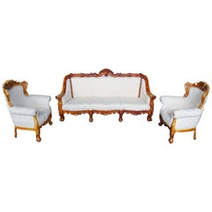Antiqued Baroque Rococo High Relief Carved Set Settee & Chairs Continental Sofa