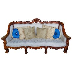 Antiqued Baroque Rococo High Relief Carved Settee Continental Sofa Brocade Seat