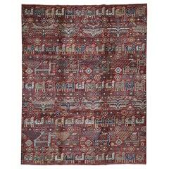 Antiqued Caucasian Akstafa Design Hand Knotted Pure Wool Oriental Rug