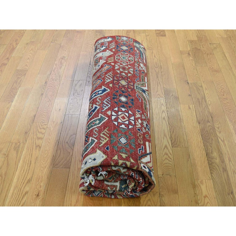 Antiqued Caucasian Akstafa Design Hand Knotted Pure Wool Rug For Sale 3