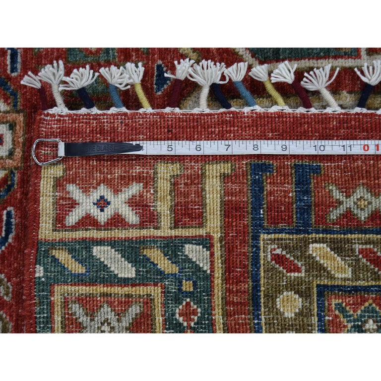 Antiqued Caucasian Akstafa Design Hand Knotted Pure Wool Rug For Sale 5
