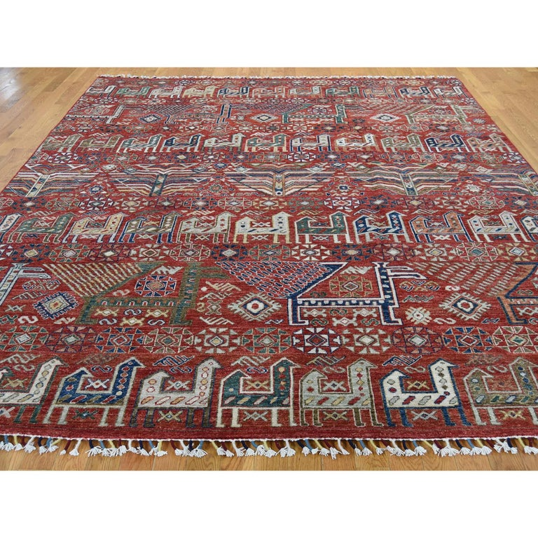 Other Antiqued Caucasian Akstafa Design Hand Knotted Pure Wool Rug For Sale