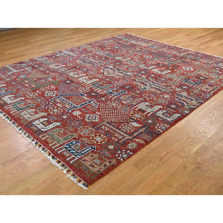 Afghan Antiqued Caucasian Akstafa Design Hand Knotted Pure Wool Rug For Sale