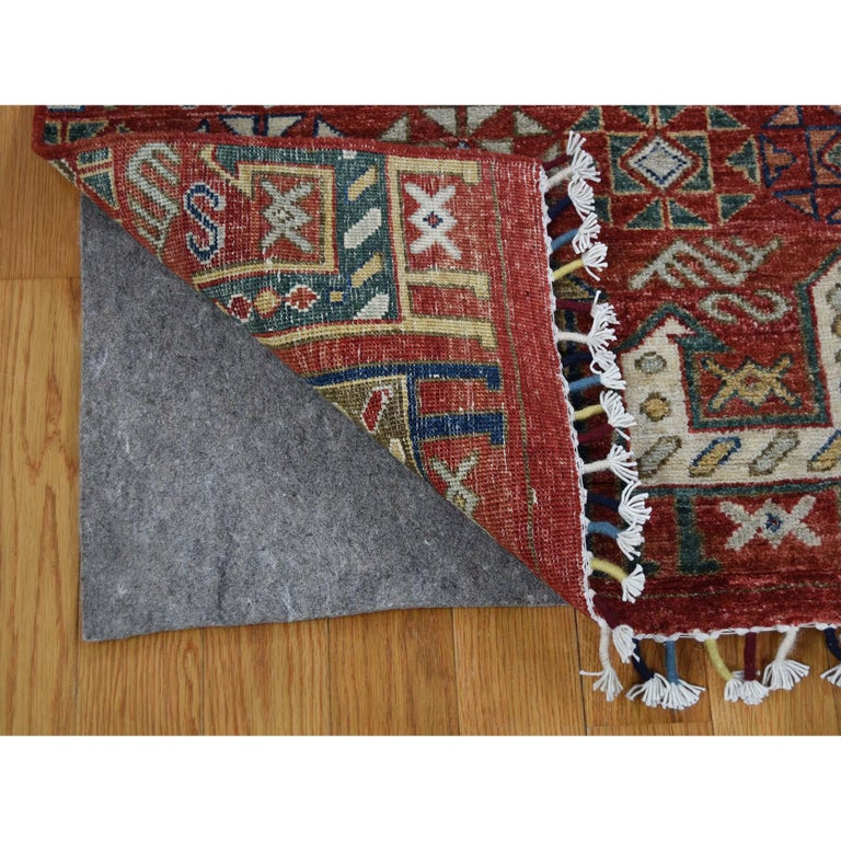 Hand-Knotted Antiqued Caucasian Akstafa Design Hand Knotted Pure Wool Rug For Sale